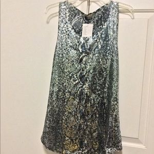 Silence & Noise Sequin Embellish Printed Tank Top